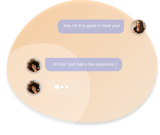 Chat between talk with fos and client